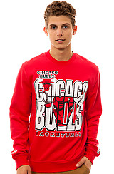 Mitchell and Ness Chicago Bulls Crewneck Sweatshirt in Red