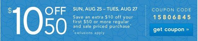 $10 off 50. Get coupon.