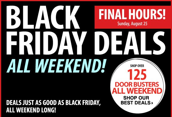 Final Hours! Black Friday Deals - Take up to an extra 25% off sale price merchandise** Shop now.