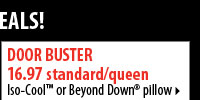 Shop these Door Buster deals! 16.97 standard/queen Iso-Cool™ Beyond Down pillow.