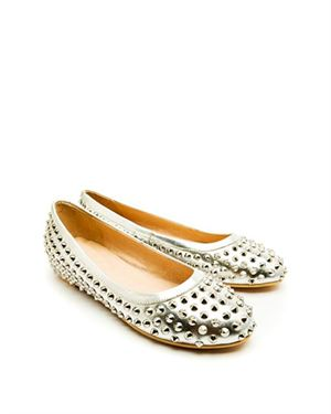 Fashion by C Leather Spike Embellished Ballet Flats