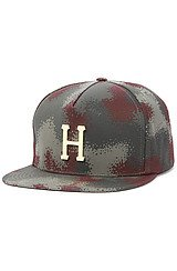 HUF Metal H Snapback in Black Spray Camo