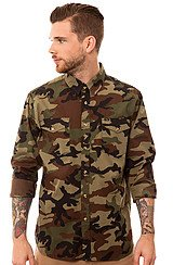 Obey Field Assassin Buttondown in Field Camo