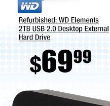 Refurbished: WD Elements 2TB USB 2.0 Desktop External Hard Drive