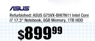 "Refurbished: ASUS G75VX-BHI7N11 Intel Core i7 17.3"" Notebook, 8GB Memory, 1TB HDD"