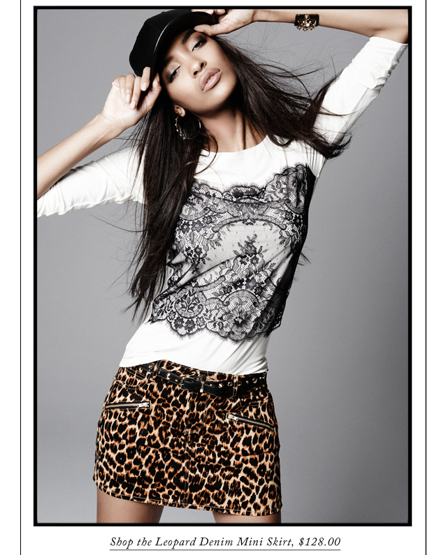 Shop the Leopard Denim Mini Skirt, $128.00.