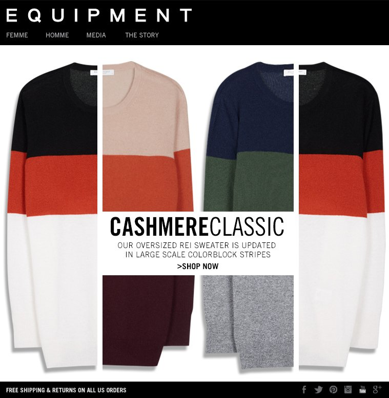 EQUIPMENT | CASHMERE CLASSIC - OUR OVERSIZED REI SWEATER IS UPDATED IN LARGE SCALE COLORBLOCK STRIPES - SHOP NOW