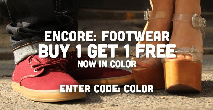 Encore: Footwear Buy 1 Get 1 Free