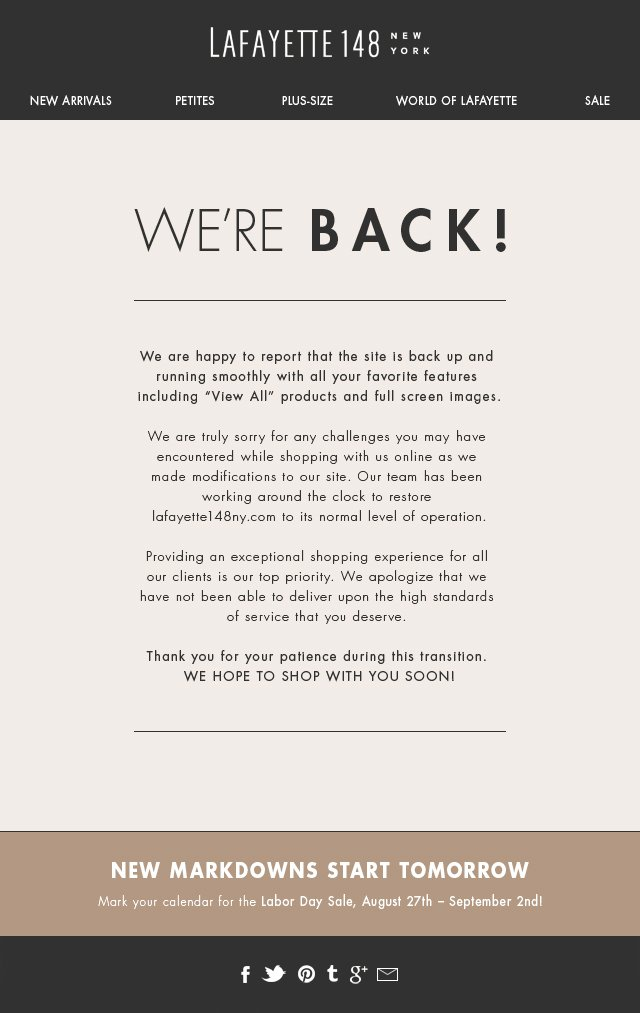 Our Website is Back and Ready to Shop!