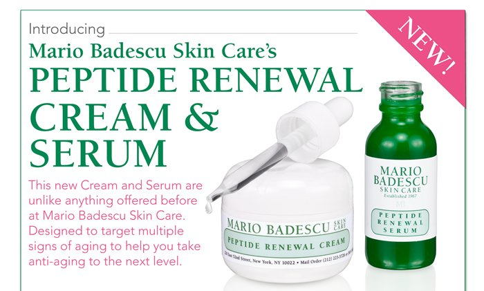 Introducing Mario Badescu Skin Care's Peptide Renewal Cream and Serum. This new Cream and Serum are unlike anything offered before at Mario Badescu Skin Care. Designed to target multiple signs of aging to help you take anti-aging to the next level.
