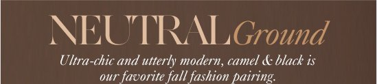 Neutral Ground Ultra–chic and utterly modern,  camel & black is our favorite fall fashion pairing.