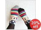 """Mushroom"" Print Striped Socks"