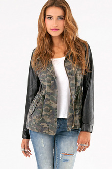 CAM JACKET WITH LEATHER SLEEVES 50