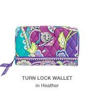 Turn Lock Wallet in Heather