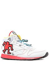 Reebok  Keith Haring Classic Leather Mid Lux Sneaker in White, Black, Techy Red