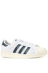 adidas Superstar 80s Sneaker in White, Dark Petrol, Ecru