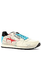 The Classic Leather Clean Basquiat Sneaker in Far Out Blue, Black, & Olympic Creme