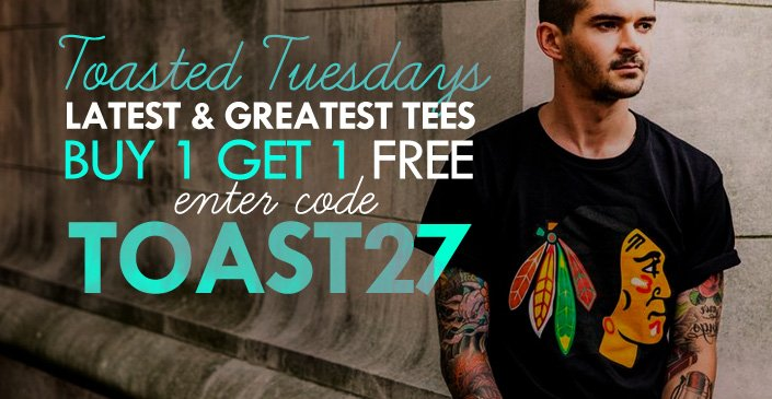 Tees are Buy 1, Get 1 - Free, that is.