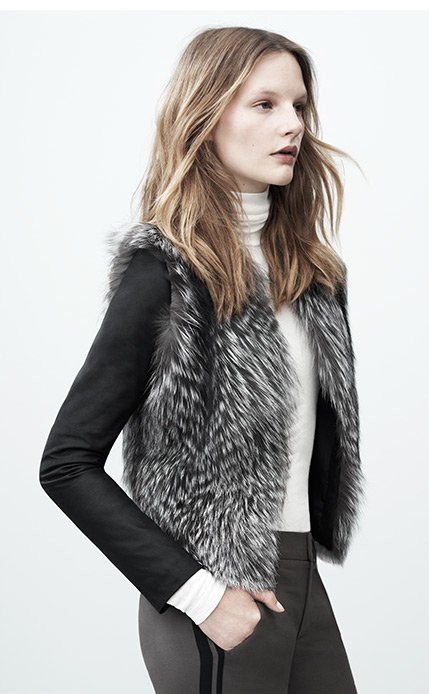 Mixed Media Fur and Leather Jacket
