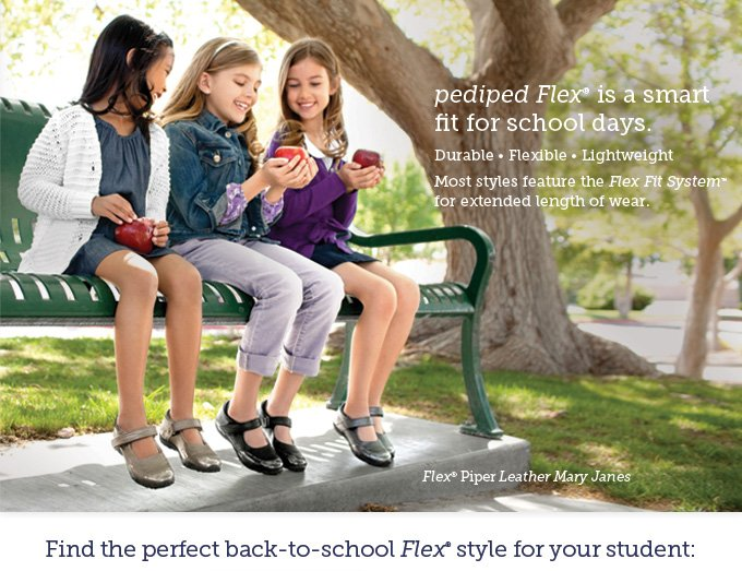 pediped Flex is a smart fit for school days. Durable • Flexible • Lightweight • Most styles feature the Flex Fit System for extended length of wear. Pictured: Flex Piper Leather Mary Janes. Find the perfect back-to-school Flex style for your student.