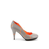 Mosaic Pump Hi | Grey + Neon Orange