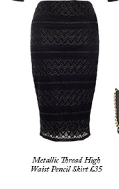 Metallic Thread High Waist Pencil Skirt