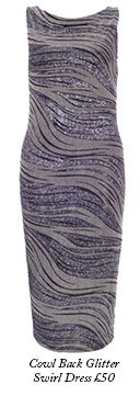Cowl Back Glitter Swirl Dress