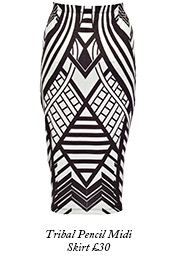 Tribal Pencil Midi Skirt