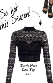 Turtle Neck Lace Top