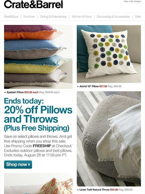 crate and barrel last chance 20 off pillows and throws free shipping milled. Black Bedroom Furniture Sets. Home Design Ideas