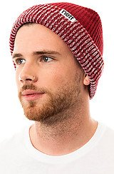 The Fold Double Beanie in Maroon and Maroon Heather