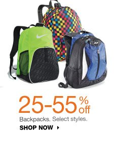 25-55% off Backpacks.  Select styles. SHOP NOW