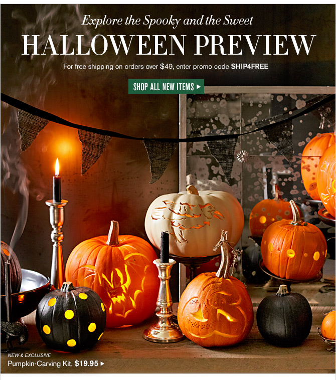 Explore the Spooky and the Sweet - HALLOWEEN PREVIEW - For free shipping on orders over $49, enter promo code SHIP4FREE -- SHOP ALL NEW ITEMS