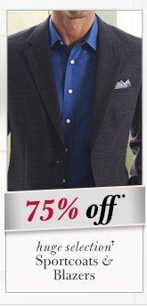 75% OFF* - Sportcoats & Blazers
