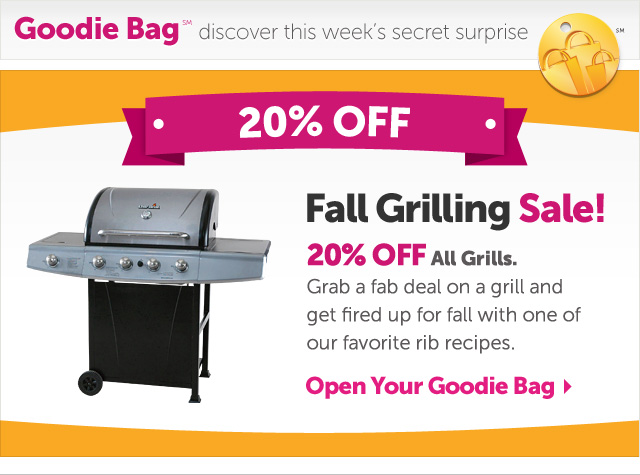 Fall Grilling Sale - 20% OFF All Grills. Grab a fab deal on a grill and get fired up for fall with one of our favorite rib recipes - Open Your Goodie Bag