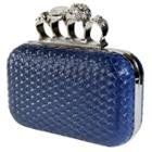 Women's Skull Knuckle Blue Woven Clutch