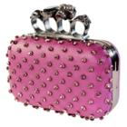 Women's Skull Knuckle Rhinestone Lilac Clutch