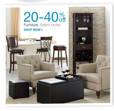 20-40% off Furniture. Select styles. Shop now.