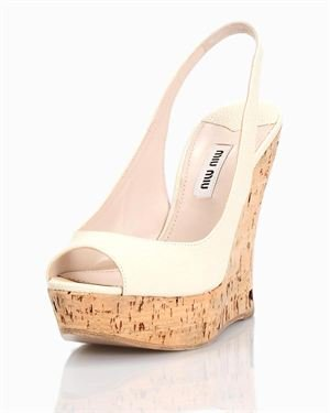 Miu Miu Pebbled Leather Wedge