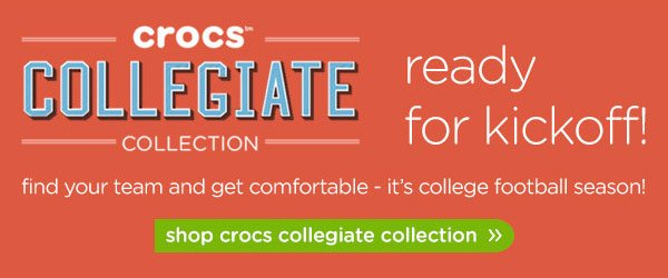 crocs collegiate collection - ready for kickoff! shop the crocs collegiate collection