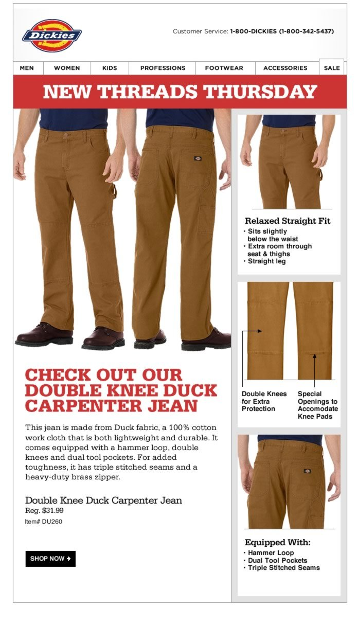 New Threads Thursday: Double Knee Duck Carpenter Jean. This jean is made from Duck fabric, a 100% cotton work cloth that is both lightweight and durable. It comes equipped with a hammer loop, double knees and dual tool pockets.