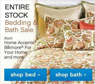 ENTIRE STOCK bedding and bath sale.