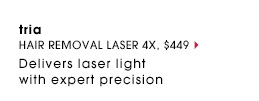 Tria. Delivers laser light with expert precision. Hair Removal Laser 4X, $449