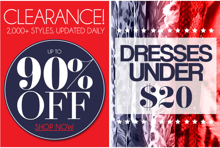 Up to 90% Off Clearance + Dresses Under $20
