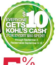 Everyone gets $10 Kohl's Cash for every $50 spent through Sept. 2. Redeemable Sept. 3-15.