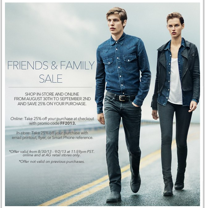 Friends & Family Exclusive: Take 25% Off At AG Stores This Weekend