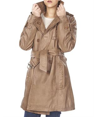 Public School Solid Color Calfskin Women's Trench Coat