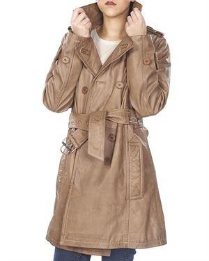 Public School Solid Color Calfskin Women's Trench Coat