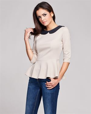 Figl Solid Color Collared Peplum Blouse Made in Europe
