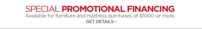 SPECIAL PROMOTIONAL FINANCING. Available for furniture and mattress  purchases of $1000 or more. GET DETAILS ›